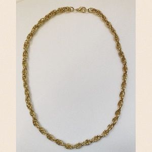 "Vintage Goldtone Twisted Rope 24"" Chain Necklace"